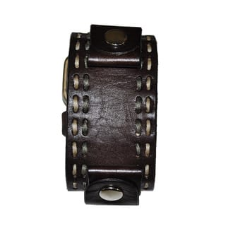 Double Stitch Leather Cuff Brown Band|https://ak1.ostkcdn.com/images/products/8454805/Double-Stitch-Leather-Cuff-Brown-Band-P15747723.jpg?impolicy=medium