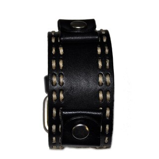 Double Stitch Leather Cuff Black Band