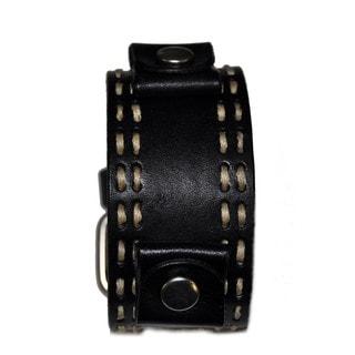Double Stitch Leather Cuff Black Band