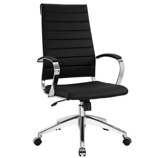 black vinyl jive ribbed high back executive office chair