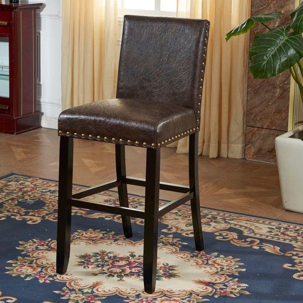 Shop Espresso Faux Leather Barstool With Nail Head Free Shipping Today Overstock 8454953