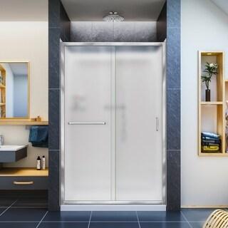 DreamLine Infinity-Z Frameless Sliding Shower Door, 36 in. x 48 in. Single Threshold Shower Base and QWALL-5 Shower Backwall Kit