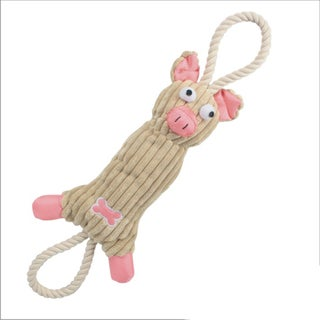 Ultra Plush Animal Squeak Jute Rope Dog Pet Toy (Option: Pink)