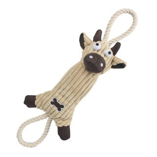 Ultra Plush Animal Squeak Jute Rope Dog Pet Toy