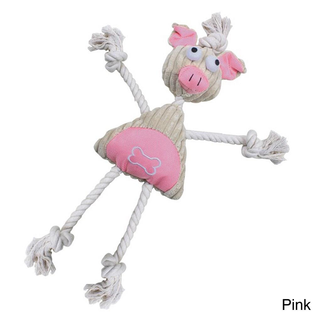 Petlife Doll Mannequin Jute Rope Squeak Pet Toy (Pink)