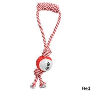 Pull Away Jute Rope/ Tennis Ball Pet Dog Toy (Option: Red)