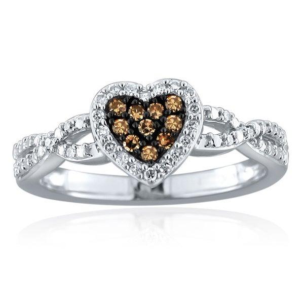 10k Gold 1/5ct TDW Brown and White Diamond Heart Ring (H-I, I1-I2)
