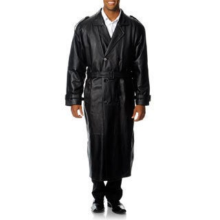 Excelled Men's Big and Tall Leather Trench Coat