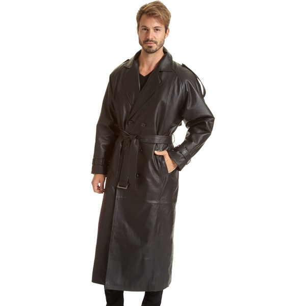 Excelled Men's Black Leather Trench Coat - Free Shipping Today ...