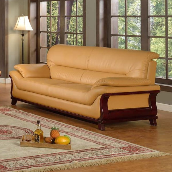 Shop Kalina Bonded Leather Modern Sofa Free Shipping