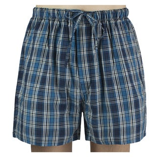 Leisureland Men's Dark Blue Plaid Cotton Pajama Shorts