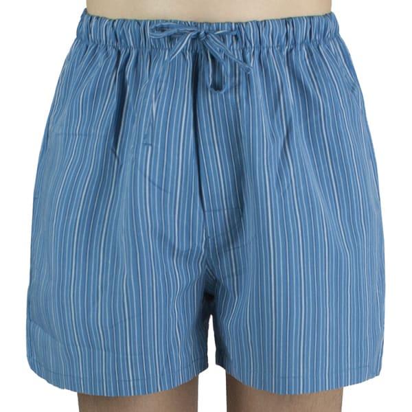 Leisureland Mens Blue Striped Cotton Pajama Shorts
