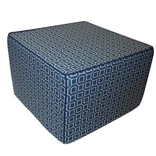 Steel Blue Hexagon Ottoman