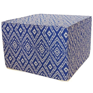 Handmade Jiti Blue and White Diamond Print Square Ottoman Pouf (USA)