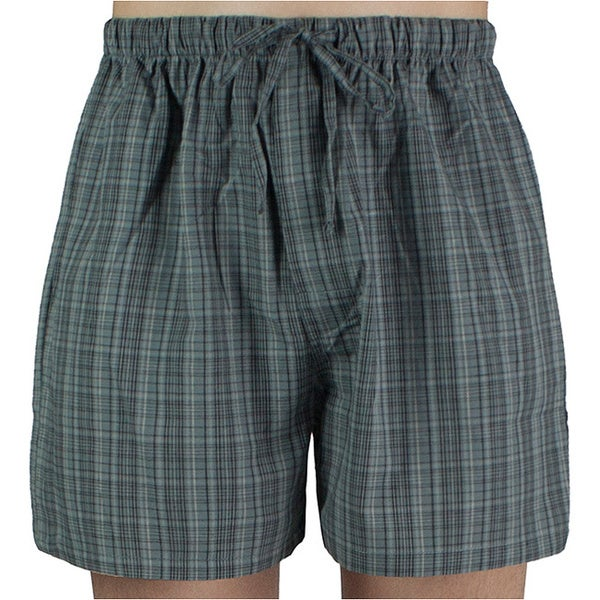 Leisureland Mens Grey Plaid Cotton Pajama Shorts