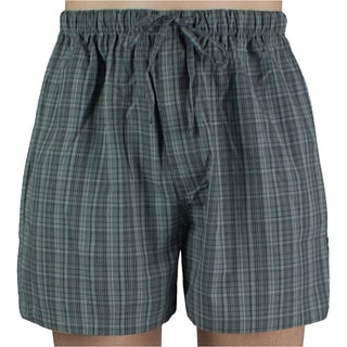 Leisureland Men's Grey Plaid Cotton Pajama Shorts