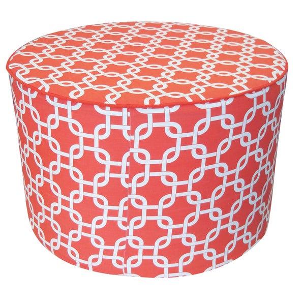 Red Mechanical Print Round Ottoman