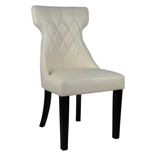 Faux Leather Parsons Dining Room Chairs: Elegant Creamy White Faux Leather Parson Dining Chair (Set Of 2)
