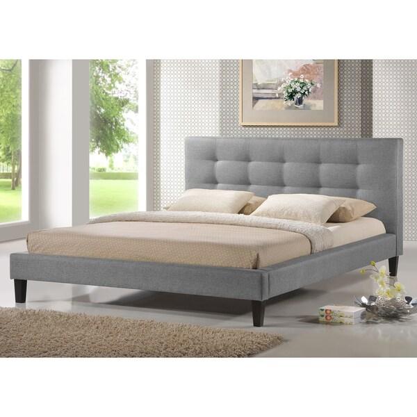 baxton studio quincy grey linen platform bed king size