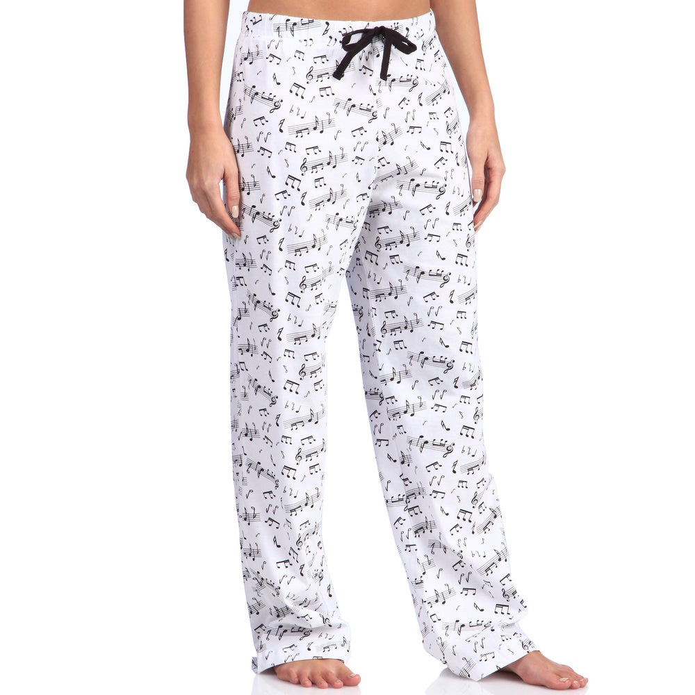 Leisureland Womens Music Notes Print Cotton Knit Pajama Pants