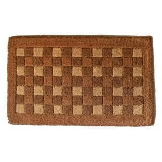 Outdoor Coconut Fiber Square Pattern Door Mat (2'6 x 1'6)