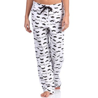 Leisureland Women's Mustache Print Cotton Knit Pajama Pants