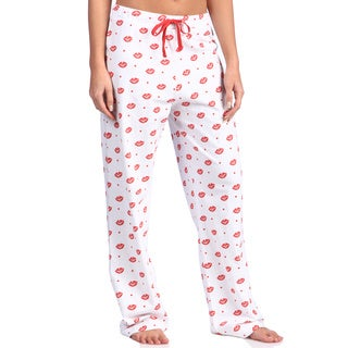 Leisureland Women's Smooch Lips Print Cotton Knit Lounge Pants