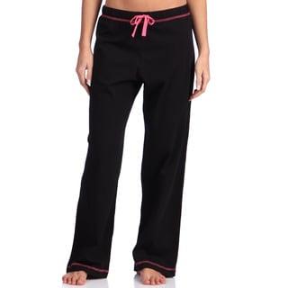 Leisureland Women's Black Cotton Knit Pajama Pants