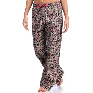 Leisureland Women's Paisley Print Cotton Poplin Black Pajama Pants
