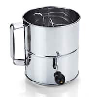 Cook N Home 8-Cup Stainless Steel Flour Sifter, Hand Crank - Stainless Steel