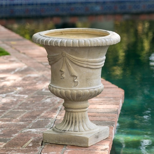 """20"""" Antique Green Urn Planter by Christopher Knight Home"""