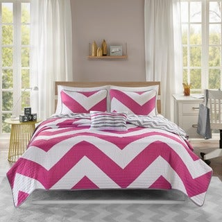 Mi Zone Virgo Reversible Pink Quilt Set