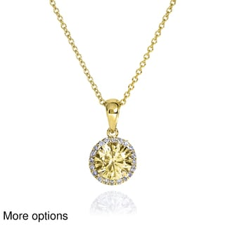 Annello by Kobelli 14k Yellow or White Gold 1ct Fancy Yellow Moissanite and 1/10ct TDW Diamond Necklace (G-H, I1-I2)