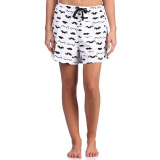 Leisureland Women's Mustache Print Cotton Knit Boxer Shorts
