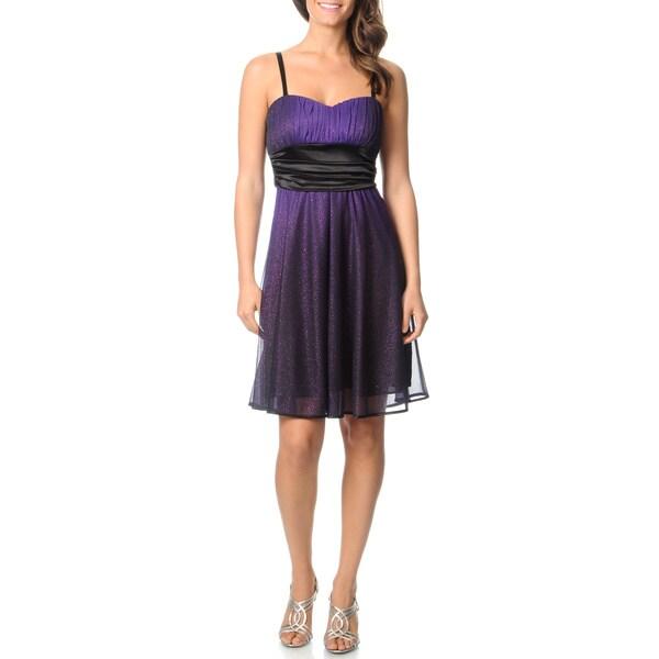 R & M Richards Women's Purple/ Black Ombre Cocktail Dress
