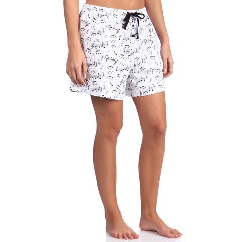 Leisureland Women's Music Notes Cotton Knit Pajama Boxer Shorts