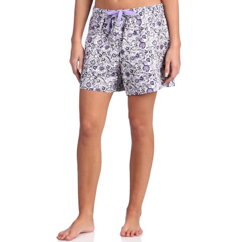 Leisureland Women's Floral Purple Cotton Poplin Lounge Shorts