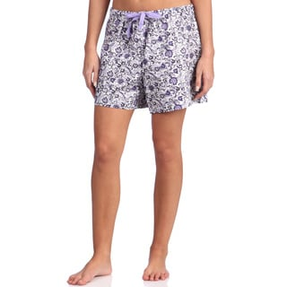 Leisureland Women's Floral Purple Cotton Poplin Lounge Shorts
