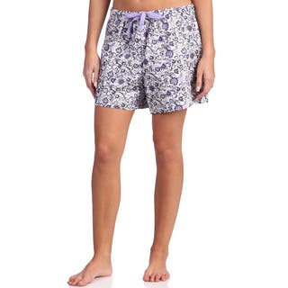 Leisureland Women's Floral Purple Cotton Poplin Lounge Shorts|https://ak1.ostkcdn.com/images/products/8458626/Leisureland-Womens-Floral-Purple-Cotton-Poplin-Lounge-Shorts-P15751098.jpg?impolicy=medium