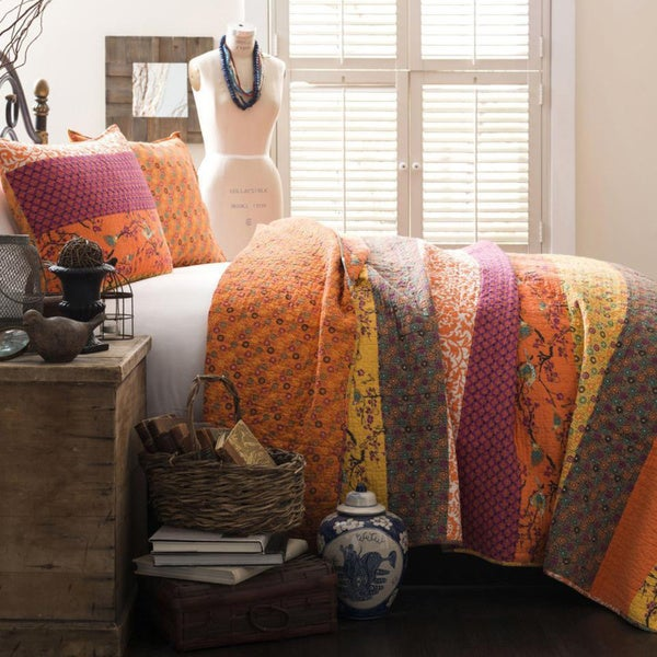 The Curated Nomad La Boheme 3-piece Striped Quilt Set. Opens flyout.