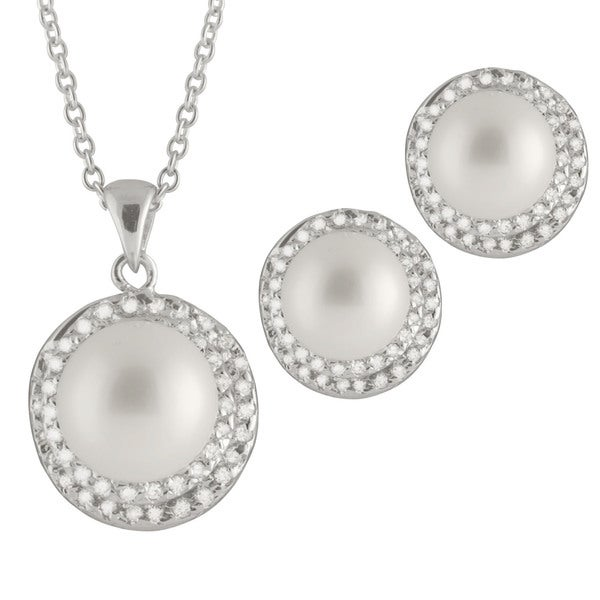 Sterling Silver White Button Shape Freshwater Pearls and CZ Estate Necklace and Butterfly Earrings
