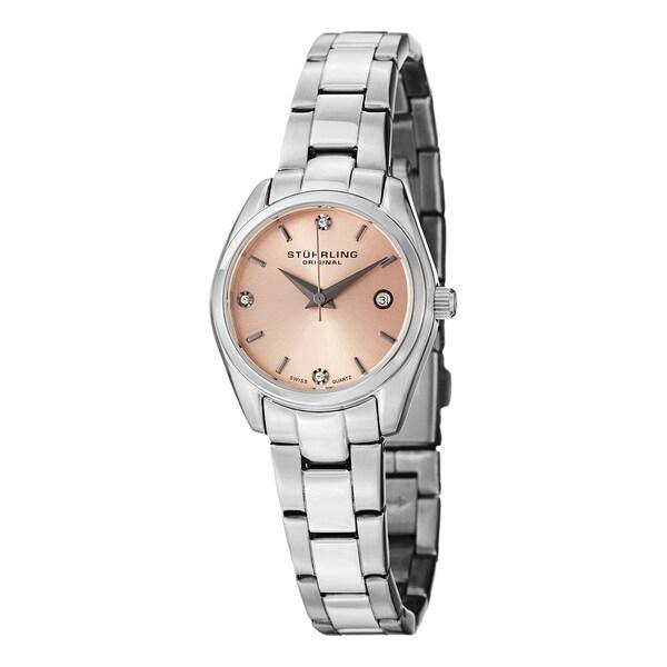 Stuhrling Original Women's Lady Ascot Prime Swiss Quartz Pink-Dial Bracelet Watch