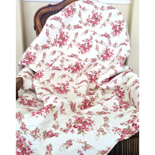 Chic Vintage Rose Quilted Throw