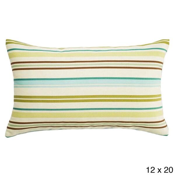 Aqua Thick-stripe Outdoor Accent Pillow