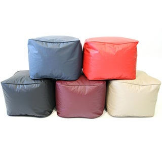 Vinyl Small Leather Look Ottoman