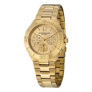 Stuhrling Original Women's Lady Capital Quartz Bracelet Watch Gold Toned