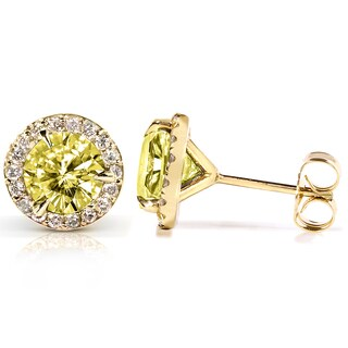 Annello by Kobelli 14k Gold Yellow Moissanite and 1/4 ct TDW Halo Diamond Earrings (G-H,