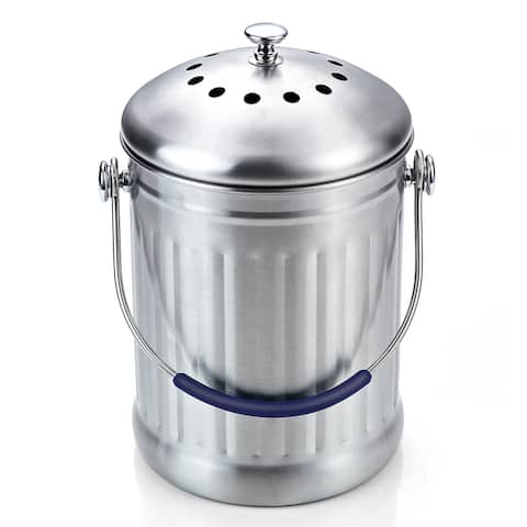 Cook N Home 1 Gallon Stainless Steel Kitchen Compost Bin with Charcoal Filter
