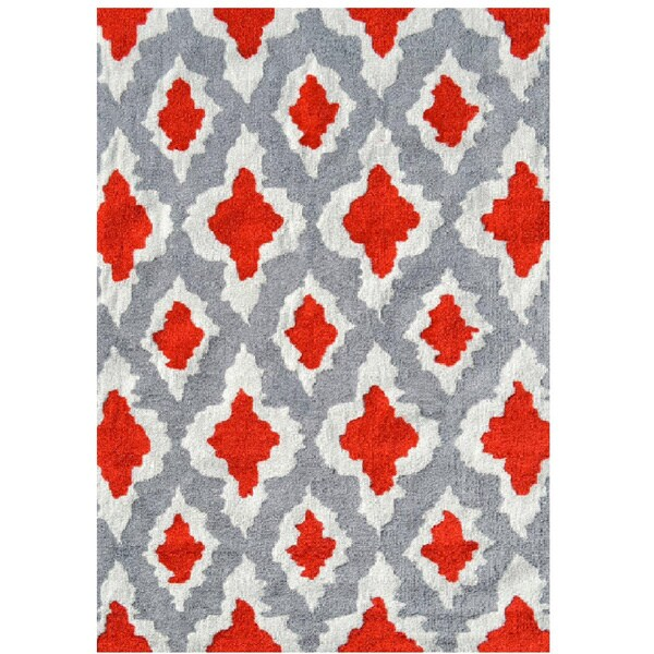 Ethnic Grey/Red UV Poly Area Rug - 5' x 7'