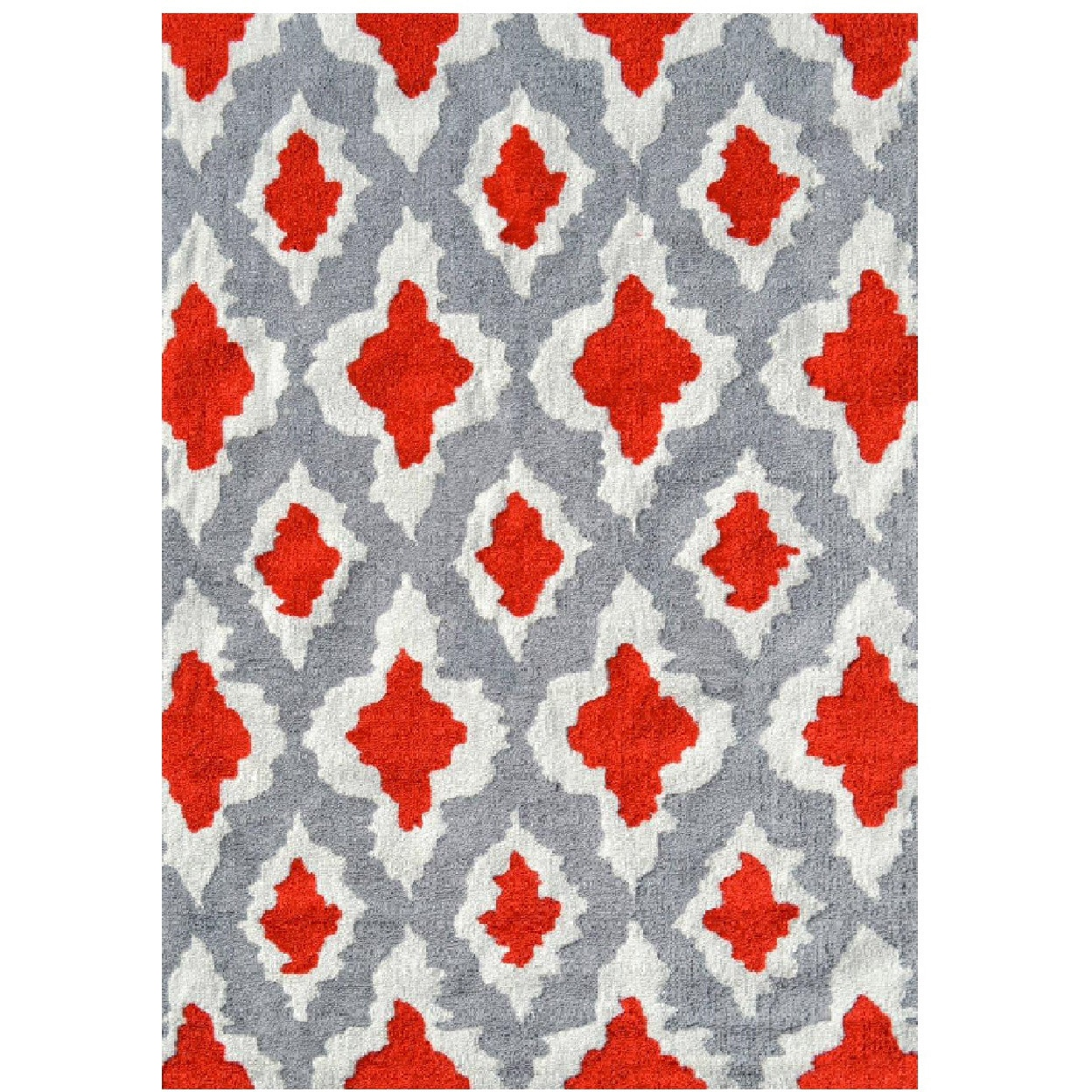 Rug Market Ethnic Grey/Red UV Poly Area Rug (5' x 7') (Et...